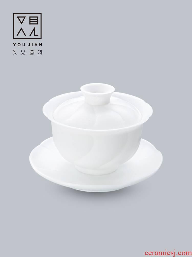 And creation of ceramic tureen dehua creative manual three to make tea tureen kung fu tea set white porcelain large bowl