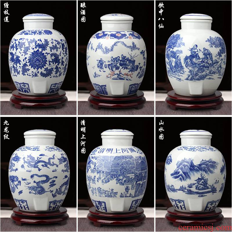 An empty bottle of jingdezhen ceramic pottery jars 10 jins 20 jins 30 jins 50 kg mercifully it home wine container