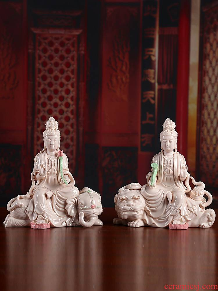 Yutang dai ceramic SaPuXian bodhisattva manjusri tome like Buddha sacrifice dehua white porcelain sitting room adornment that occupy the home furnishing articles