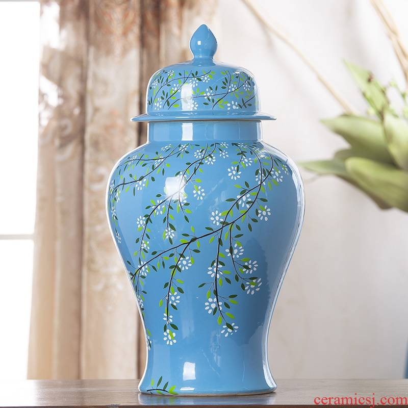 Jingdezhen ceramic vase furnishing articles of new Chinese style living room decoration flower arranging dried flower general tank household soft adornment