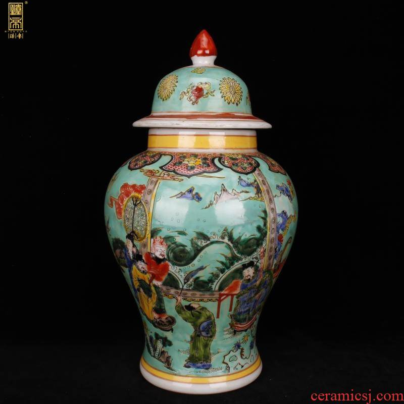 Jingdezhen imitation model of green space characters of the reign of emperor kangxi figure general tank antique reproduction antique Chinese style household decorative furnishing articles