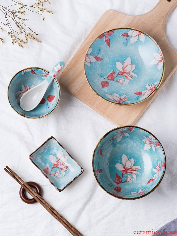 One single household food tableware chopsticks sets sweethearts bowl ceramic dishes ins dishes single 6 times