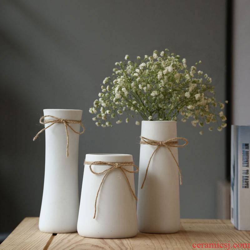 Ceramic dry flower vase contracted white rope is I and contracted home furnishing articles hydroponic flower ornament