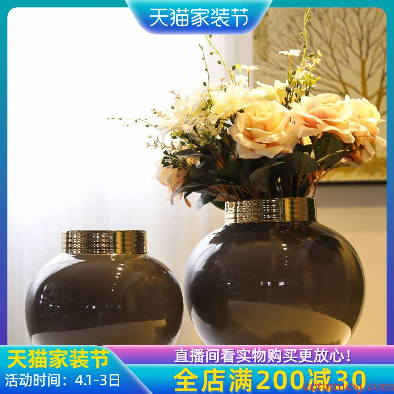 Jingdezhen light of new Chinese style flower adornment is placed between example sitting room key-2 luxury club hotel floral outraged simulation flower decoration