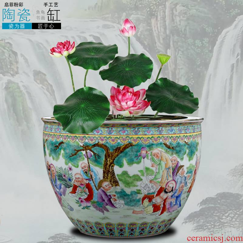 Jingdezhen chinaware lotus bowl lotus tortoise cylinder painting and calligraphy calligraphy and painting scroll feng shui plutus daikin cylinder aquarium