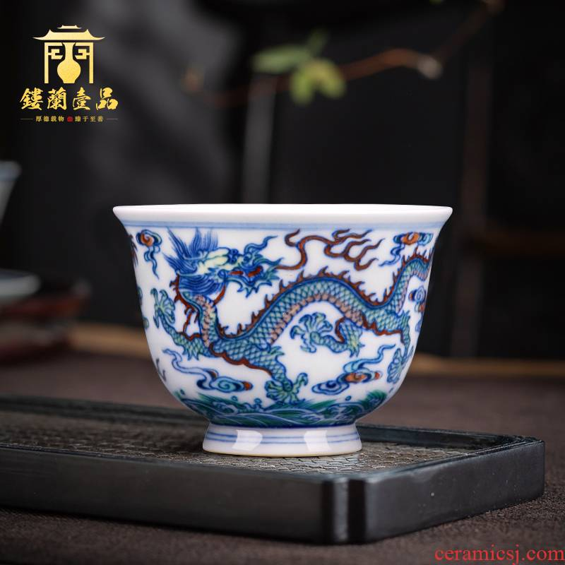 Jingdezhen blue and white color bucket pure hand - made ceramic dragon playing beads bell cup master cup tea tea cups