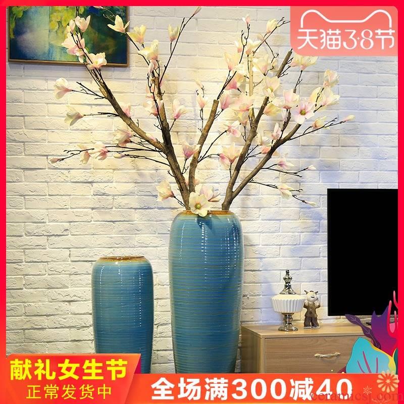 Ceramic large landing simulation flower vase demand flower flower implement hotel villa large European living room furnishing articles