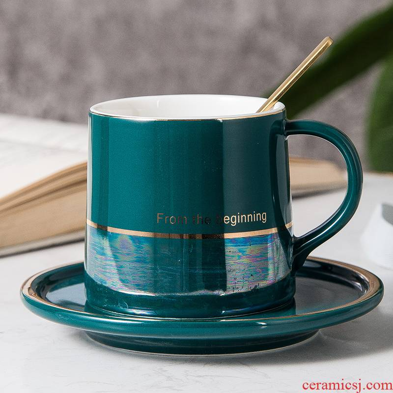 Light key-2 luxury ceramic coffee cup suit household creative move dazzle see colour keller cup English breakfast milk cup