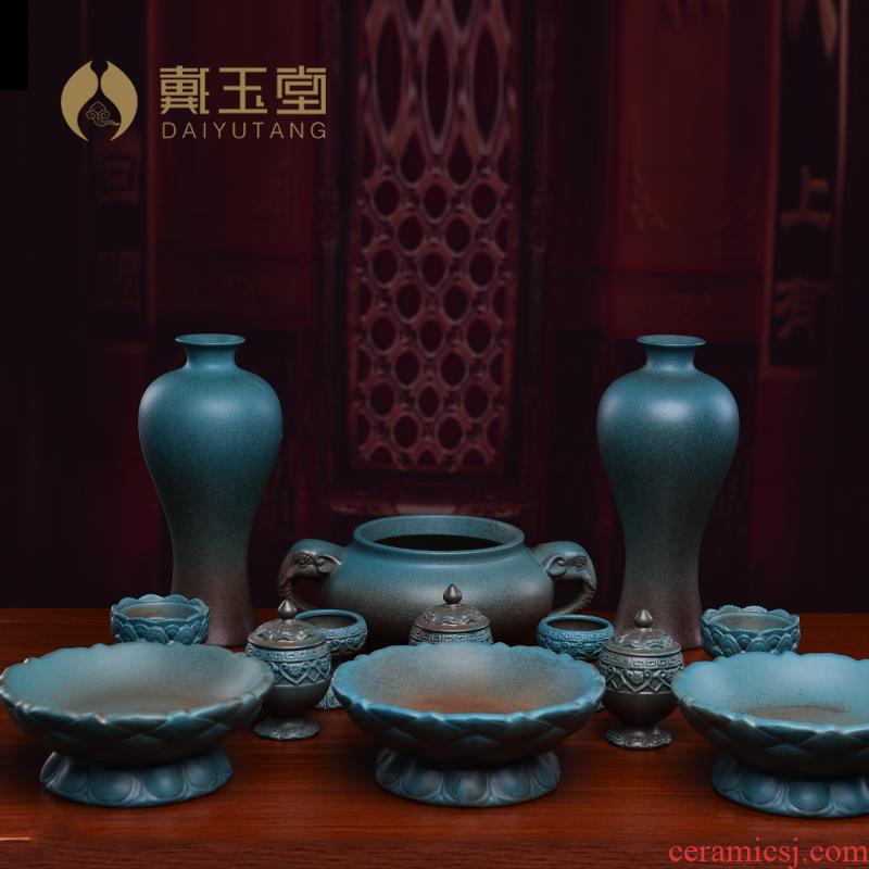 Yutang dai ceramic Buddha with supplies of offering home furnishing articles before Buddha worship Buddha incense buner glass full suit