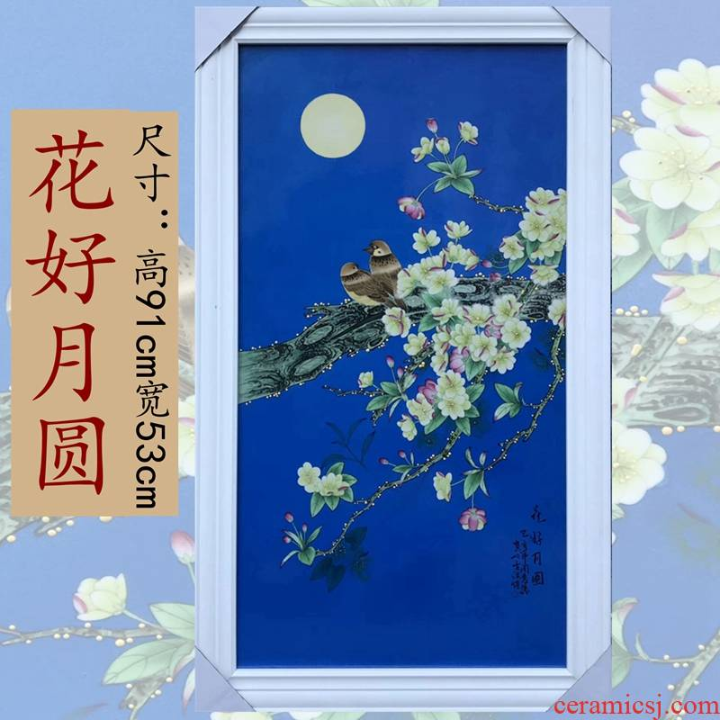 Jingdezhen painting masters hand - made flowers and porcelain plate painting classical Chinese style living room hangs a picture place wall decoration