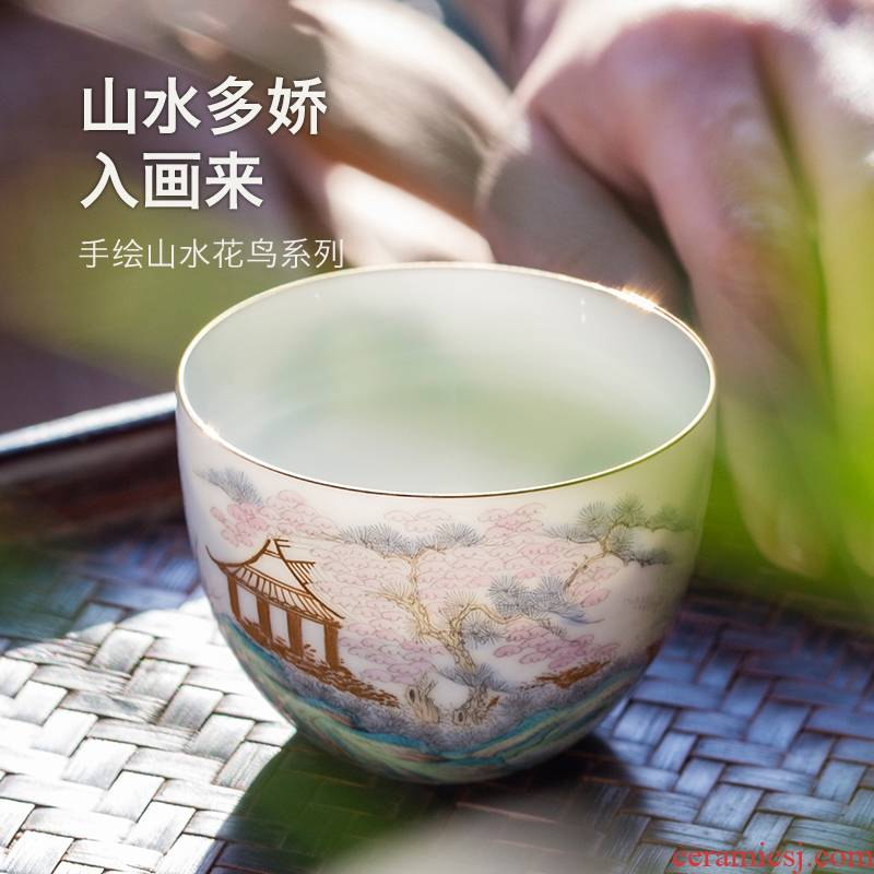 Made in pure manual master cup of jingdezhen ceramic household kung fu tea cup single hand - Made sample tea cup white porcelain cup