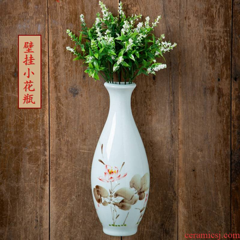 Jingdezhen hand - made vases freehand brushwork in traditional Chinese painting hanging modern home decoration furnishing articles ceramic vase lotus flower bottle