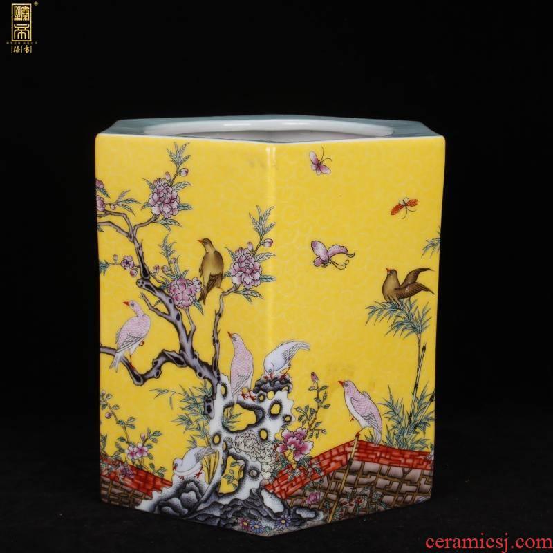 Archaize of jingdezhen porcelain the qing yongzheng colored enamel six - party big brush pot pen sea Chinese four desk office furnishing articles