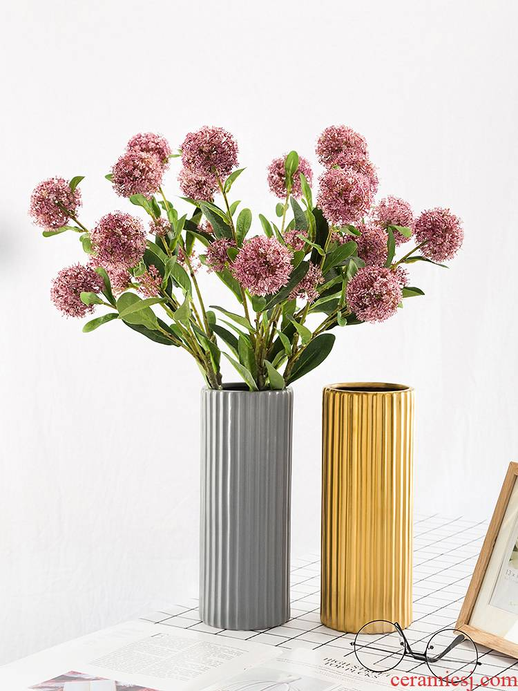 Contracted and I ceramic vases, flower implement Nordic office dried flower arranging flowers sitting room straight vertical stripes desktop furnishing articles