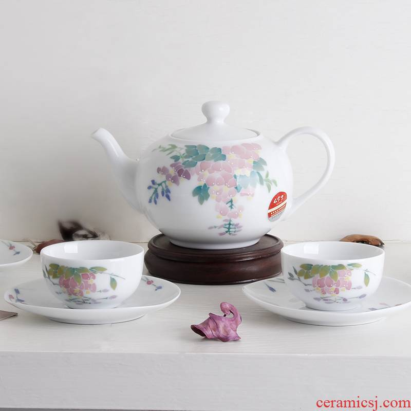 China red porcelain up wisteria language 9 tea set under the liling glaze color hand - made porcelain gifts ceramic POTS, cups and saucers