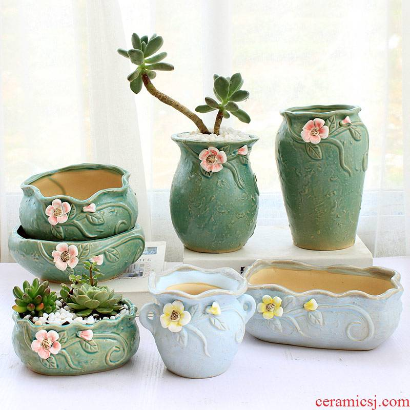 Flesh POTS contracted large caliber basin of the old running the creative fleshy flowerpot ceramic household special large clearance package mail