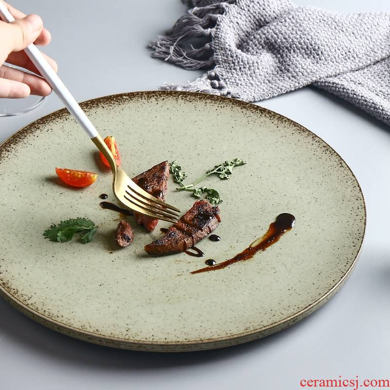 [directly] Japanese coarse pottery dishes home big plate plate of pasta salad move retro plate of beefsteak