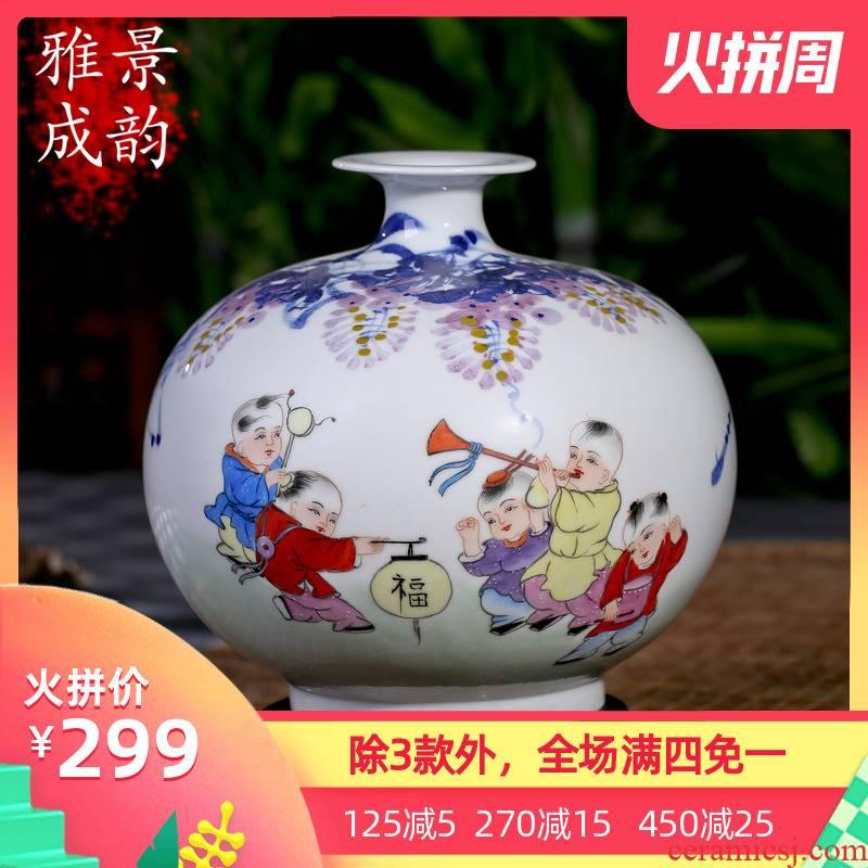 Jingdezhen ceramics vase hand - made creative I and contracted home sitting room floor furnishing articles handicraft ornament