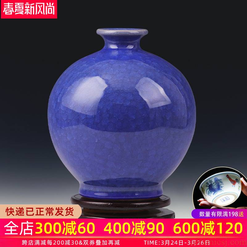 Jingdezhen ceramic vase furnishing articles flower arranging archaize crack household adornment blue porcelain Chinese style restoring ancient ways is the sitting room