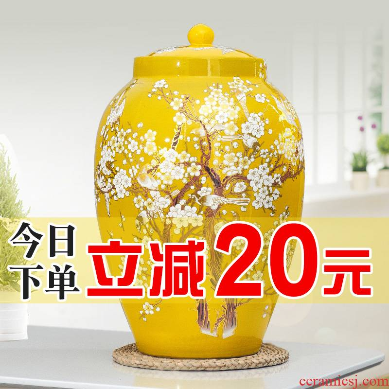 Jingdezhen ceramic barrel ricer box 20 jins 30 jins of 50 pounds to take rice storage box cover household moistureproof insect - resistant rice pot