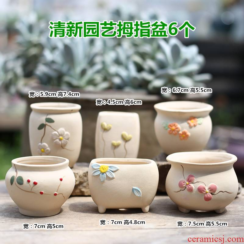 Korean meat ceramic coarse pottery flowerpot more breathable creative move meat meat plant special offer a clearance thumb old running the flowerpot
