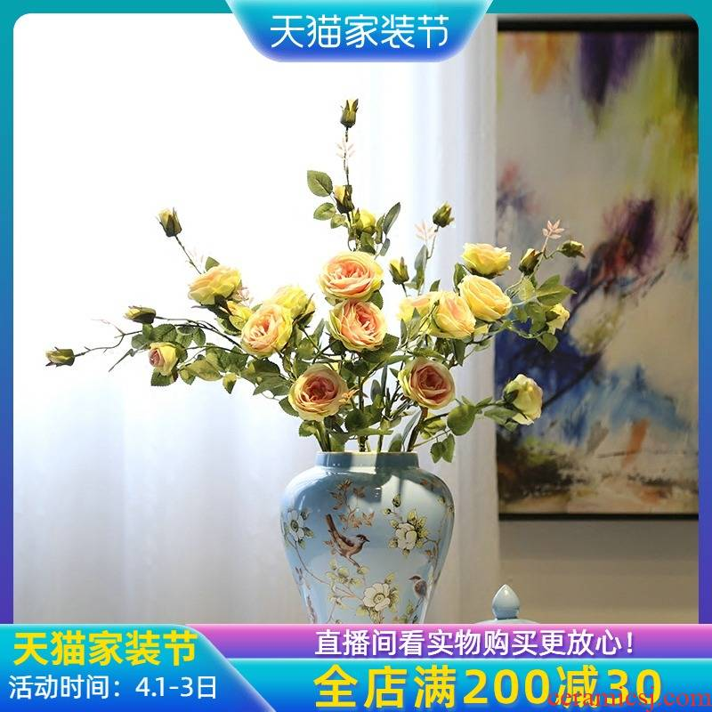 Jingdezhen ceramic vases, modern new Chinese style flower furnishing articles furnishing articles living room table flower implement simulation flower candy jar