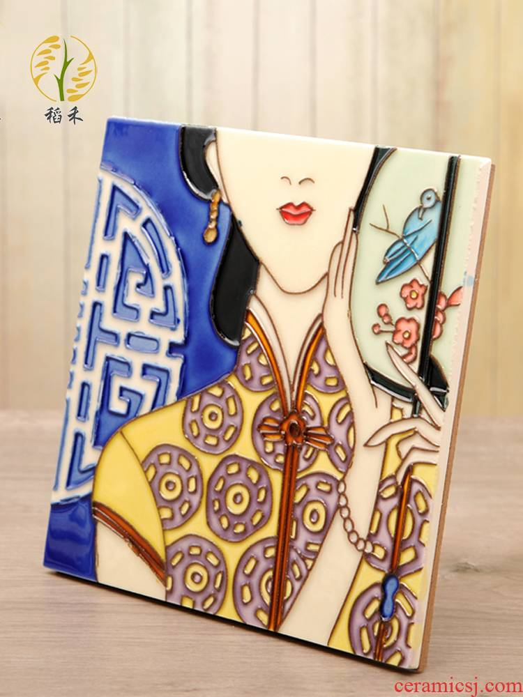 Shanghai special ceramic hand - made porcelain plate painting sitting room metope adornment restaurant corridor of Chinese style porch hang a picture wall act the role ofing