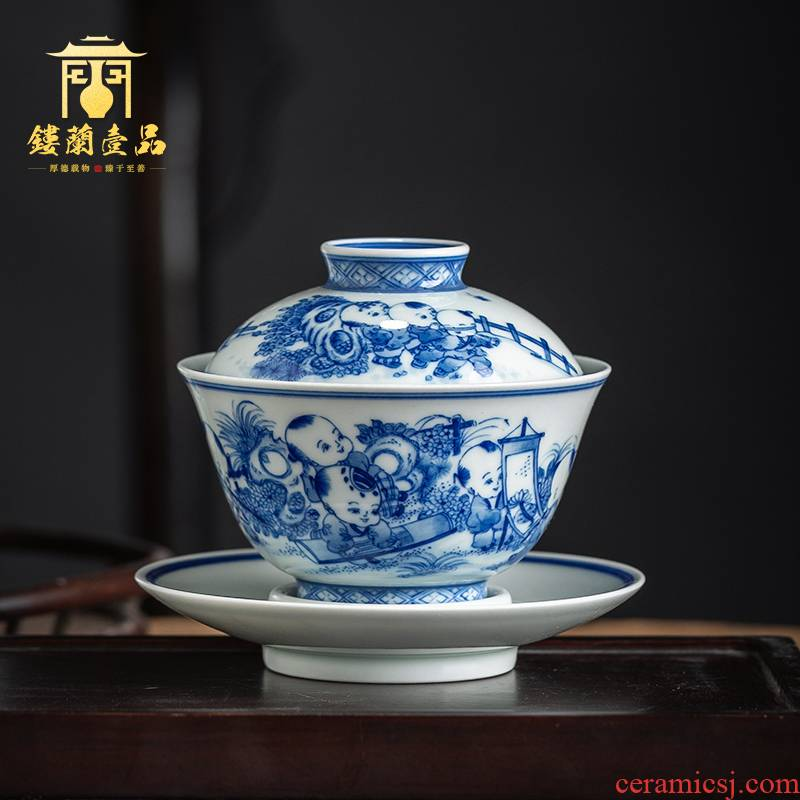 Jingdezhen ceramic hand - made lad of blue and white porcelain all three tureen large household kung fu tea tea bowl cups