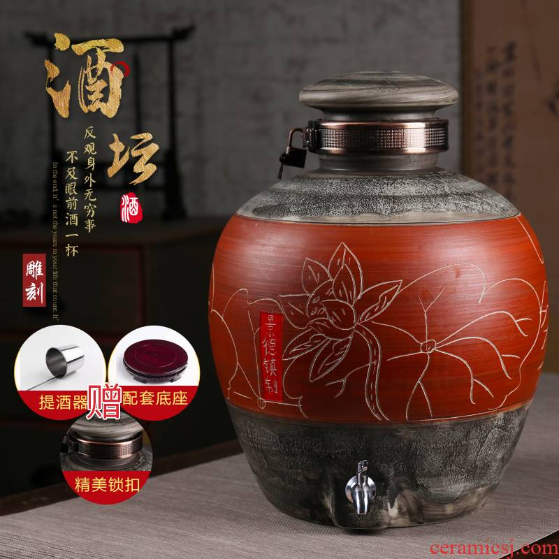 Jingdezhen ceramic jars hand - carved seal pot 10 jins 20 jins 50 kg to mercifully wine home private jars