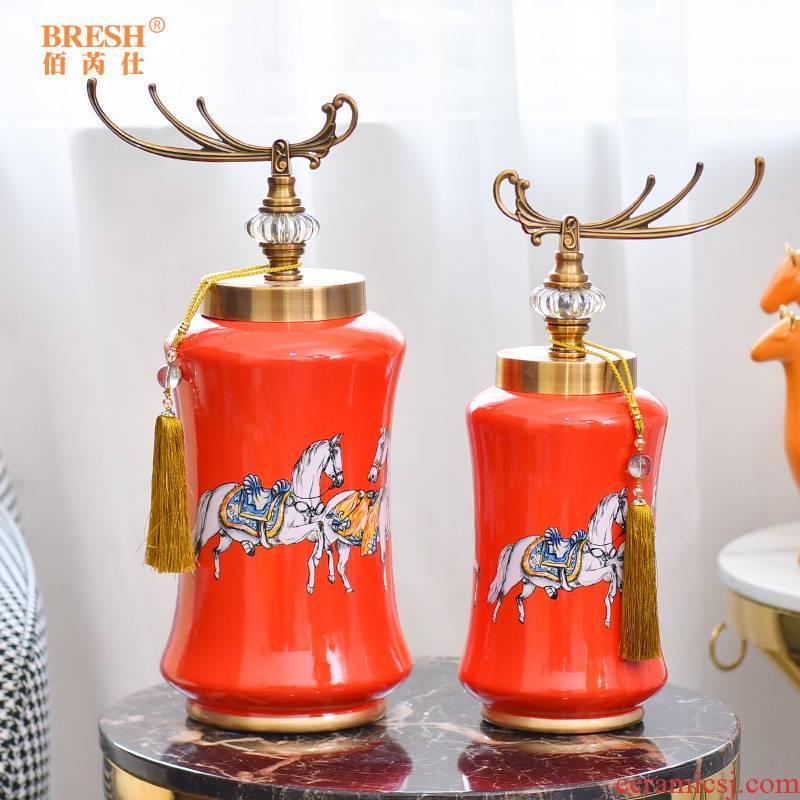 European American horse ceramic home furnishing articles sitting room porch decoration design orange TV ark, arts and crafts