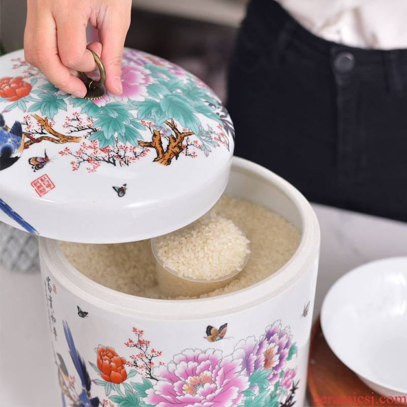 Jingdezhen ceramic barrel 10 jins to ricer box with cover seal pot store meter box store m household flour barrels of insects