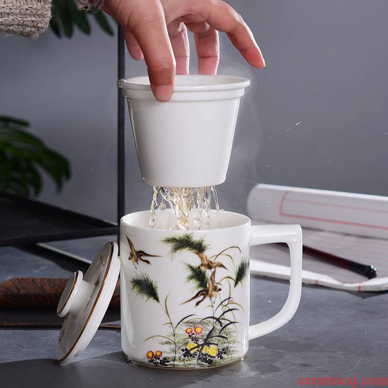 Jingdezhen ceramic ipads China cups with cover filter cup tea cup paint line a large cup of office tea by hand