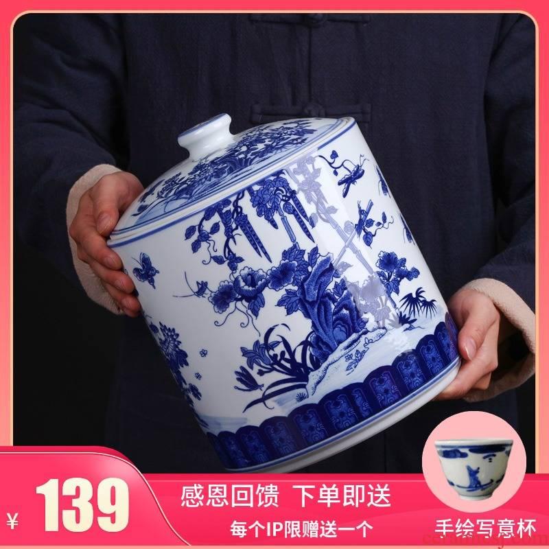 Jingdezhen ceramic bread seven pu 'er tea pot home tea sealed as cans a large store of blue and white porcelain tea pot