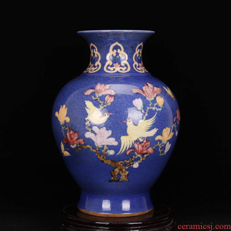 Jingdezhen imitation Ming xuande is antique antique carved flowers and birds in grain blue vase archaize porcelain Chinese style restoring ancient ways furnishing articles