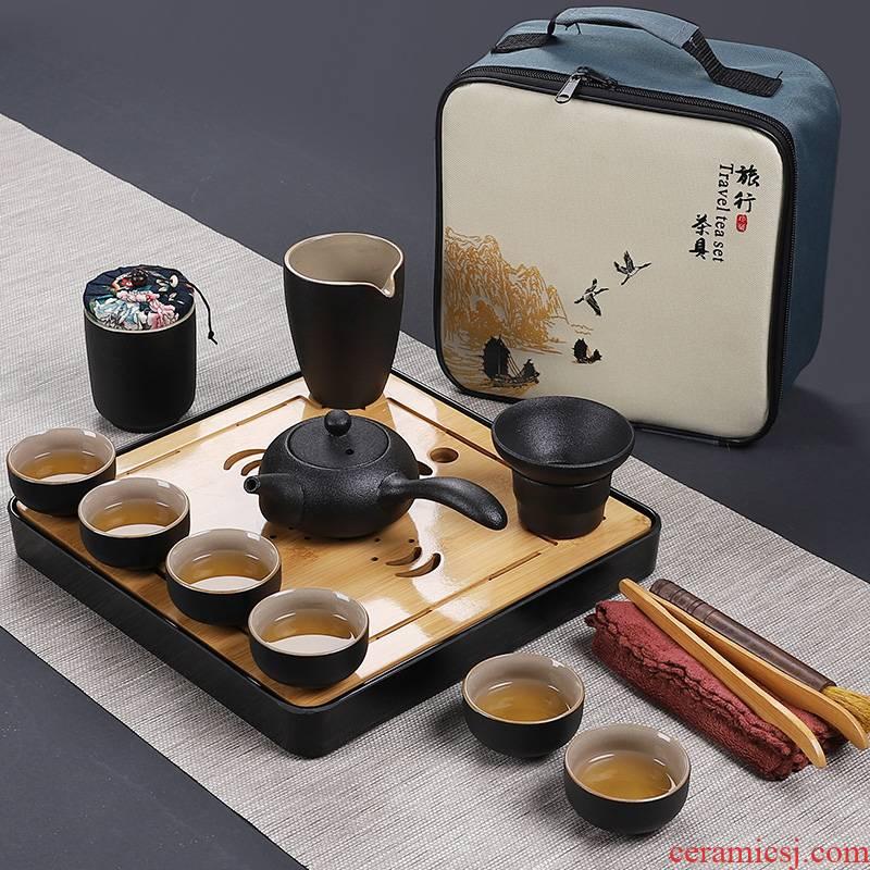 In Japanese black pottery building portable travel tea set kung fu tea teapot teacup of a complete set of ceramic tea tray