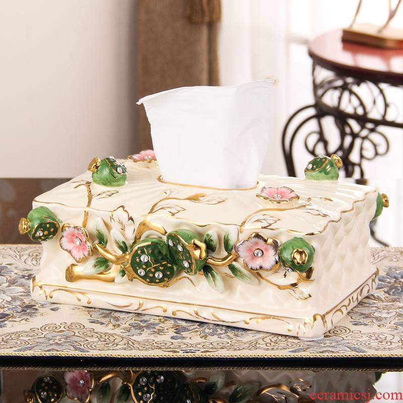 SAN road fort European ceramic tissue box smoke box creative wipe boxes sitting room tea table desktop ornaments furnishing articles