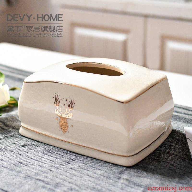 Nordic light luxurious modern ceramic tissue box sitting room tea table household table bedroom take cartons decorative paper smoke box