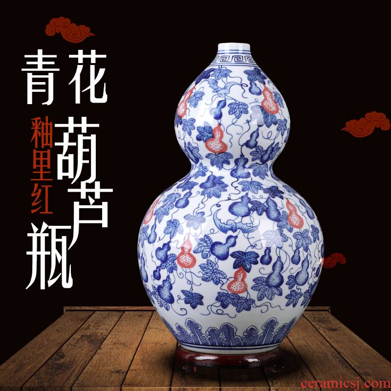 Blue and white porcelain of jingdezhen ceramics antique hand - made youligong gourd vases sitting room furnishing articles furnishing articles indoor feng shui