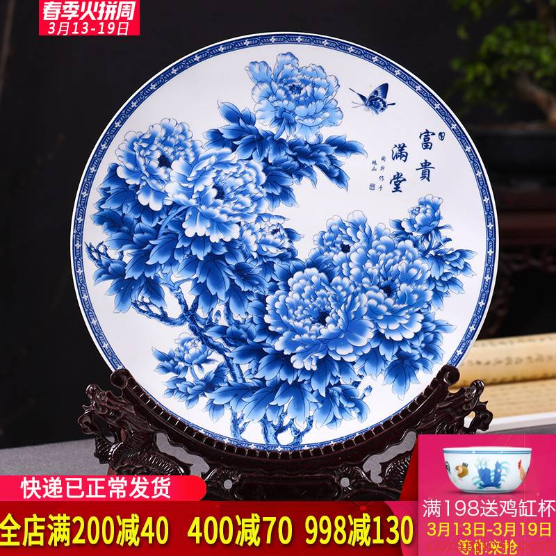 Hang dish of blue and white porcelain of jingdezhen ceramics decoration plate archaize sitting room ark of new Chinese style TV ark, furnishing articles