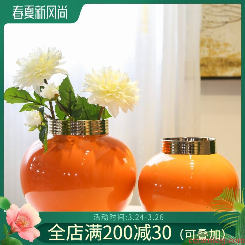 Jingdezhen creative new Chinese style porch ceramic vase table between example simulation flower hotel decoration decoration furnishing articles