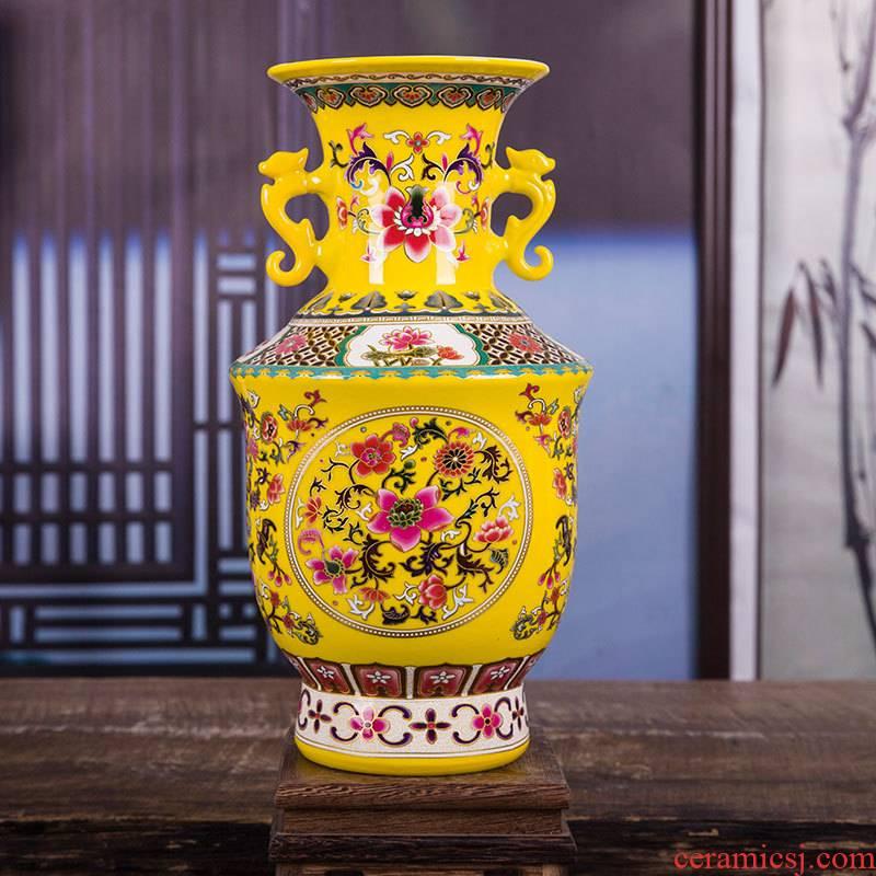 Jingdezhen ceramics vase Huang Shuanger enamel vase household adornment of I sitting room place gifts