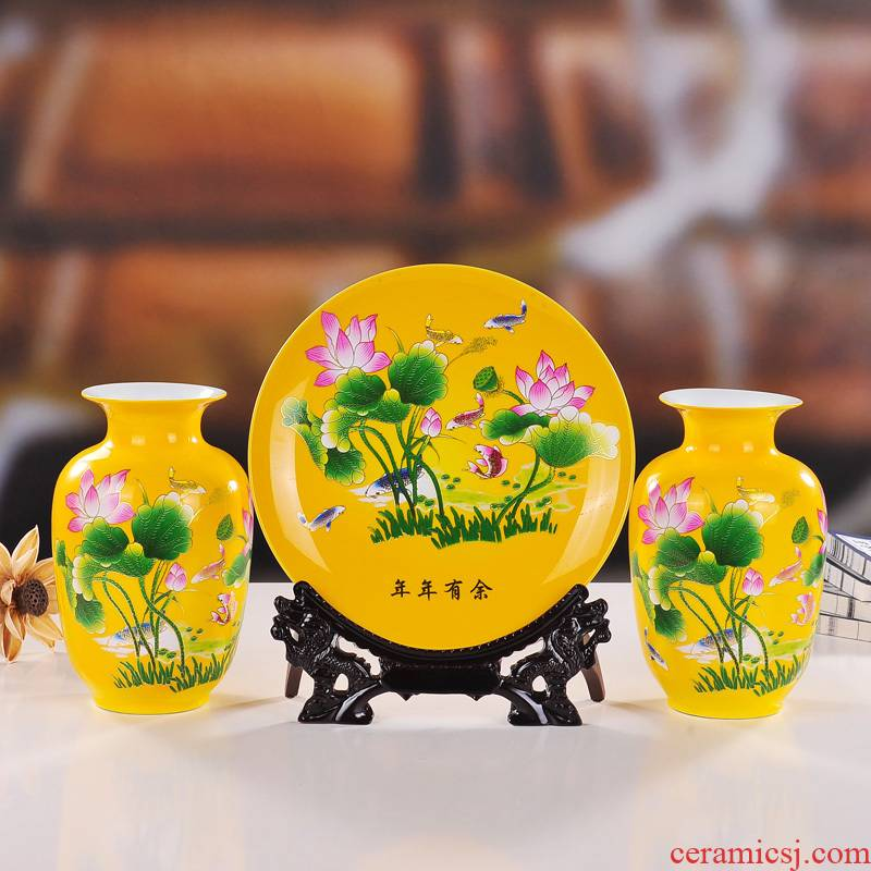 Jingdezhen ceramics glaze crystal lotus three - piece suit modern fashion vase plates home handicraft furnishing articles