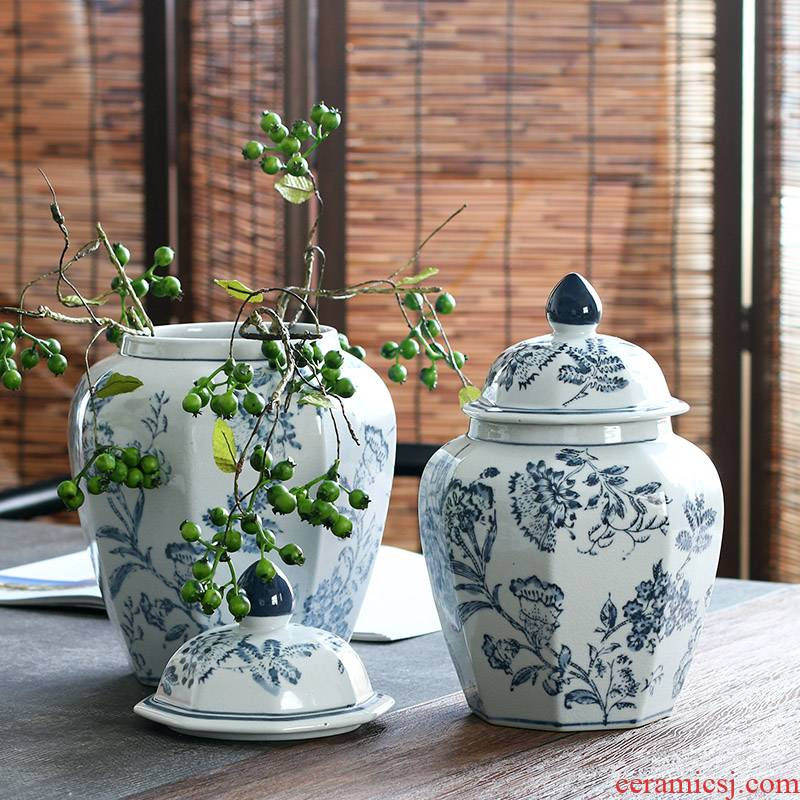 Hand - made bound branch pattern of blue and white porcelain anise furnishing articles archaize the general pot of jingdezhen ceramics up decorative storage tank