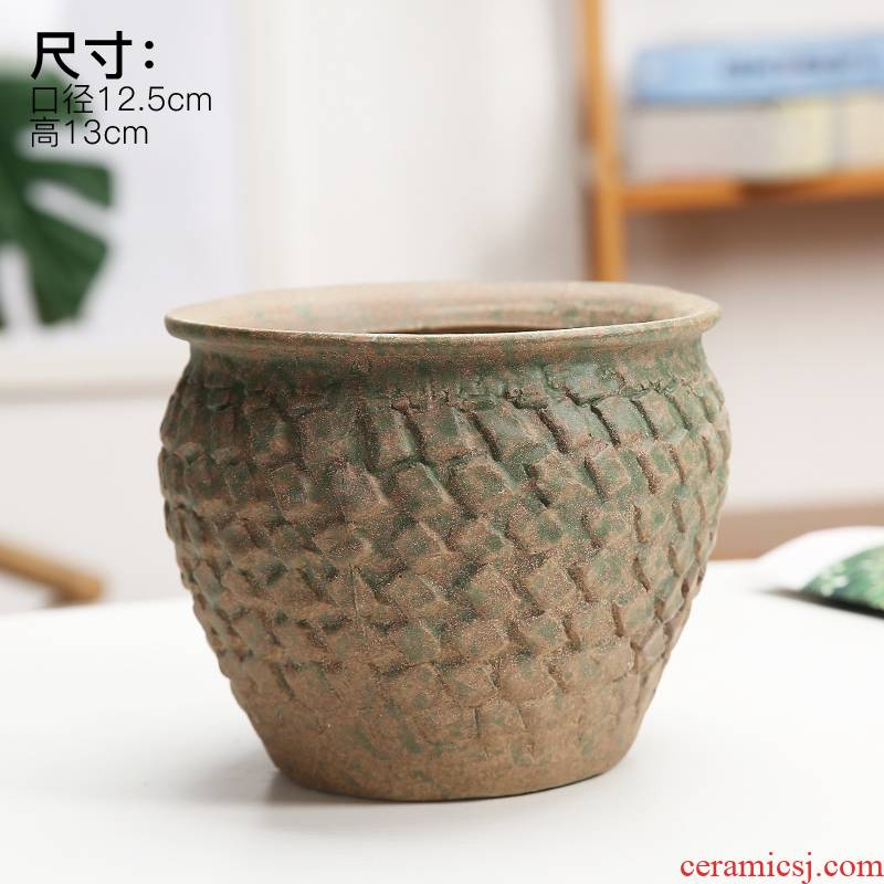 Coarse pottery fleshy green plant flower of bracketplant of the ceramic pot is mage, fleshy old high permeability model of large diameter of the big flower pot