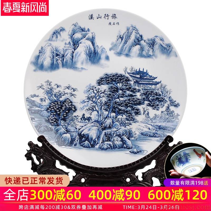 Blue and white snow ceramic decoration plate 35 cm hang dish khe sanh travelled faceplate modern household decorates sitting room furnishing articles