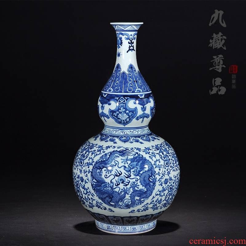 Jingdezhen ceramics antique blue and white porcelain dragon playing bead home sitting room put gourd vases, decorative arts and crafts