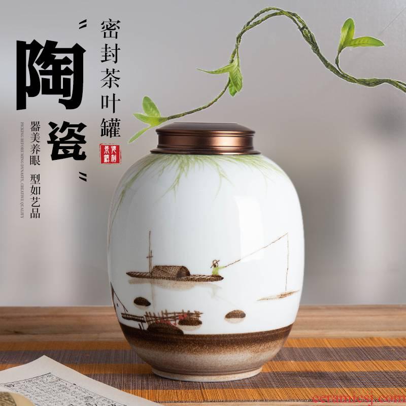 Jingdezhen hand - made ceramic tea pot half jins 1 catty 3 kg to save seal storage tank with pu 'er tea POTS