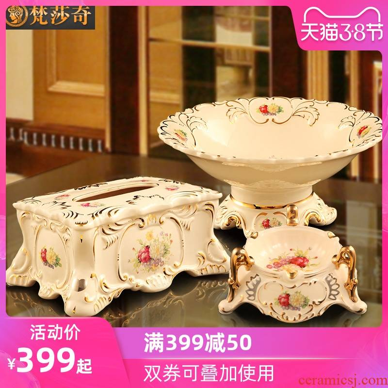 Vatican Sally 's European compote suit creative home furnishing articles sitting room tea table decorations ceramic fruit bowl three - piece suit