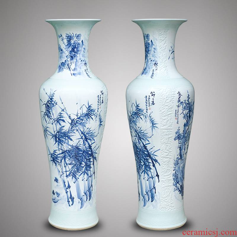 Jingdezhen ceramics hand - made large blue and white porcelain vase by 1 m 2 patterns sitting room place a housewarming gift