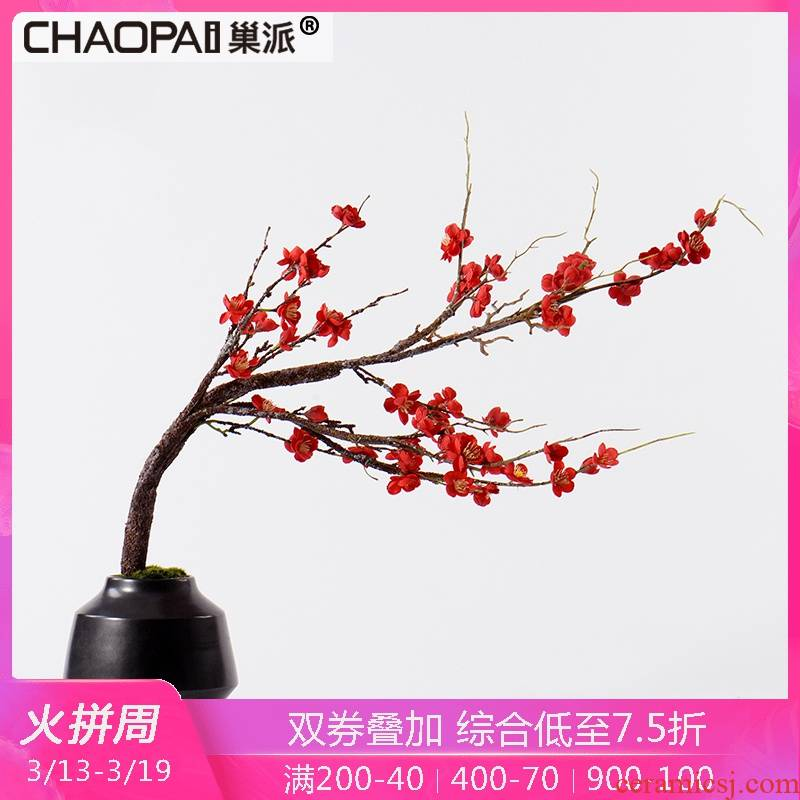 New Chinese style simulation red name plum green plant bonsai flower art feel of the sitting room porch ark side ceramic flower decorations